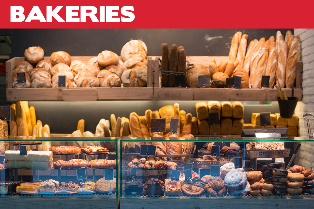 • Dough rollers • Mixers • Ovens •  Display cabinets